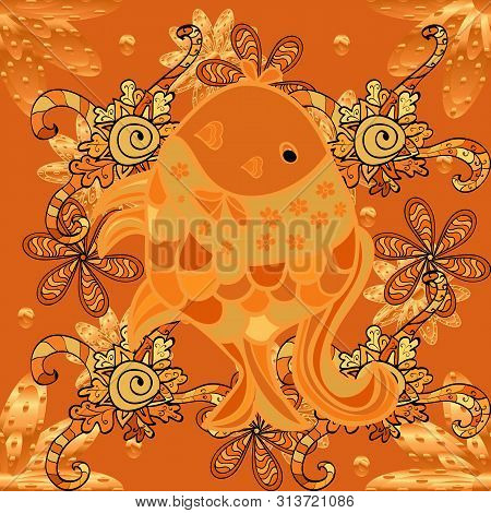 Raster Illustration. Seamless Raster Pattern With Cute Decorative Fishes. Funny Multicolor Backgroun