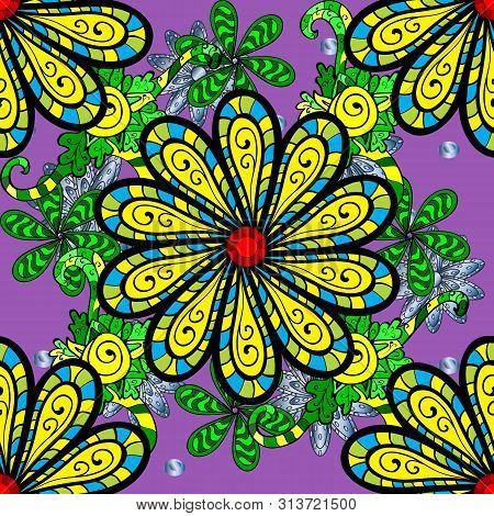 Raster Illustration. Gentle, Spring Floral On Violet, Yellow And Black Colors. Raster Floral Pattern