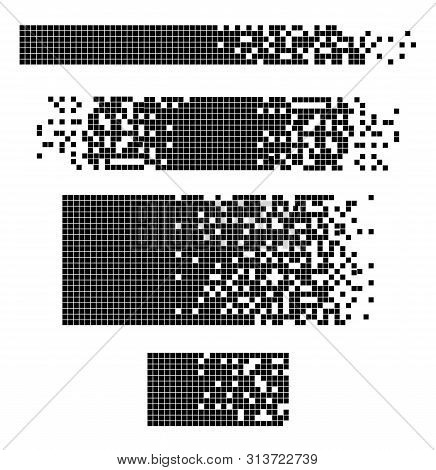 Dissolved Filled Square Dotted Vector Icon With Disintegration Effect. Vector Rectangle Elements Are