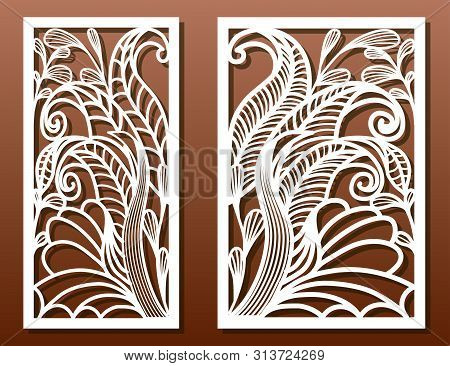 Laser Cut Panels With Exotic Floral Pattern. Use For Die Templates, Cut-out For Wood Or Metal Decor