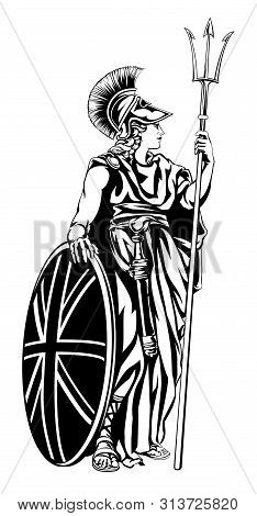 Illustration of Britannia, personification of Britain, holding a Union Jack Shield and trident poster