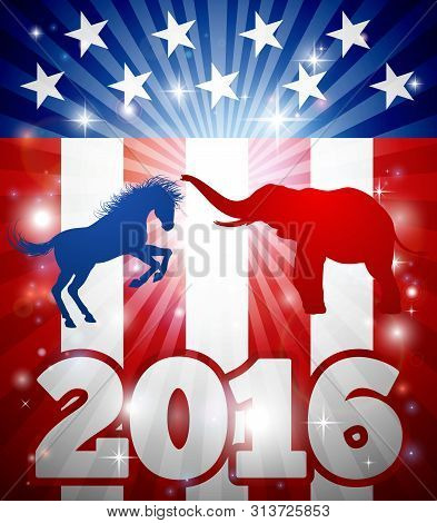 Concept For The Presidential Election Debate 2016 Or Politics In General. Mascot Animals Of American