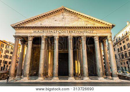 Pantheon, Rome, Italy, Europe. Rome Ancient Temple Of All The Gods. Rome Pantheon Is One Of The Best