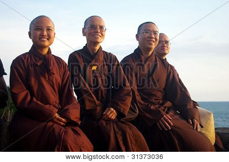 Buddhist Monks Wearing Kimono Robes