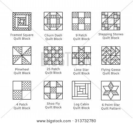 Quilt Sewing Pattern. Log Cabin, Pinwheel Tiles. Quilting & Patchwork Blocks From Fabric Squares, Tr