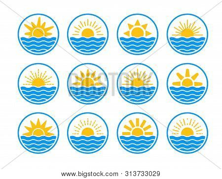 Sunrise Over Sea, Ocean. Sunset Over Lake, River. Summer Round Labels, Emblems With Sun & Waves. Set
