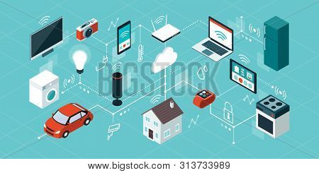 Internet Of Things, Domotics And Smart Home Innovations, Isometric Network Of Connected Devices And