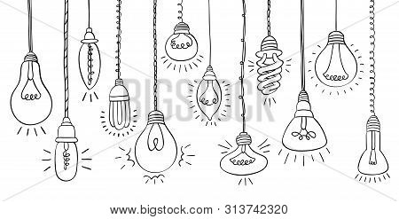Isolated Bulbs Of Different Types With Light Hand Drawn Doodle Bulb Set: Fluorescent, Filament, Halo