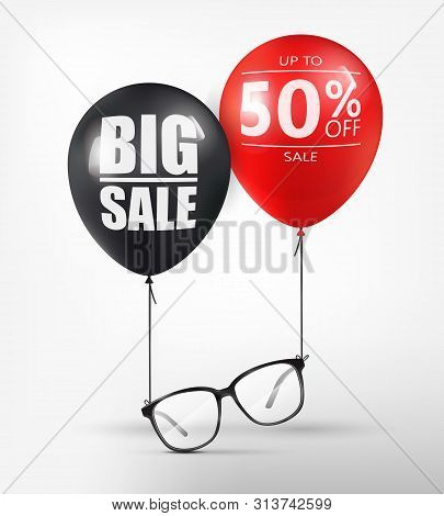 Eyeglasses Sale Banner Concept. Black Optical Glasses On White Background. Dioptrical Glasses. Ophth