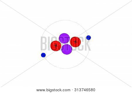 Illustrated Model Of Helium Atom, Helium Gas.