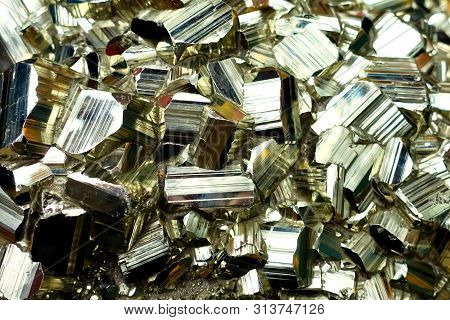 Pyrite Crystals Of Beautiful Shape, A Piece Of Pyrite.