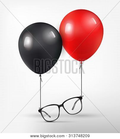 Optical Glasses Attached To Red And Black Balloon. Black Optical Glasses On White Background. Dioptr