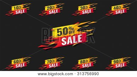 Sale Tags Set Vector Badges Template, Up To 10, 20, 90, 80, 30, 40, 50, 60, 70 Percent Off, Vector I
