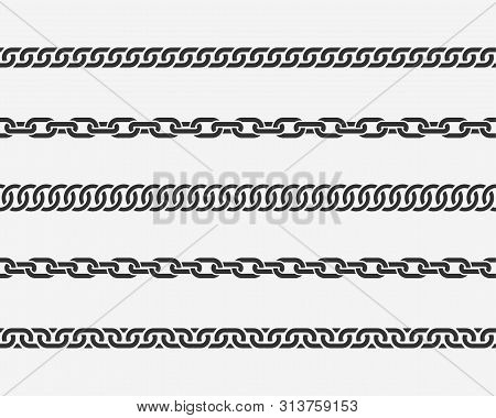 Set Seamless Chain Link. Different Chains Silhouette Black And White Isolated On Background. Chainle
