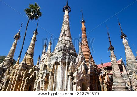 Shwe Inn Thein Paya, Indein, Nyaungshwe , Inle Lake, Shan State, Myanmar .burma . Weather-beaten Bud