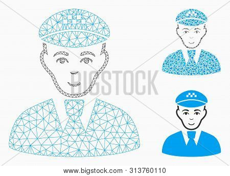 Mesh Taxi Driver Model With Triangle Mosaic Icon. Wire Carcass Triangular Network Of Taxi Driver. Ve