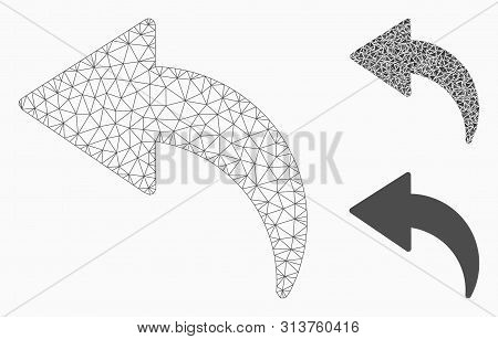 Mesh Undo Model With Triangle Mosaic Icon. Wire Carcass Triangular Mesh Of Undo. Vector Mosaic Of Tr