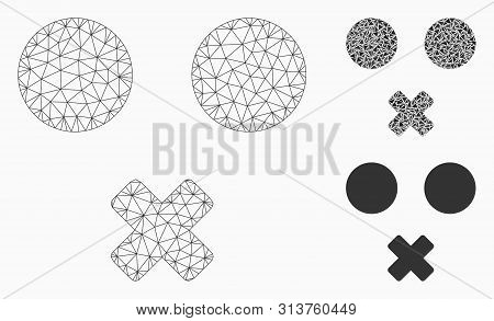 Mesh Mute Smiley Model With Triangle Mosaic Icon. Wire Frame Triangular Mesh Of Mute Smiley. Vector