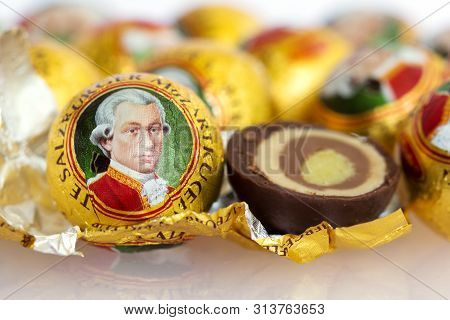 Vienna, Austria - August 22, 2015: The Mozartkugel, A Sweet Confection Made Of Chocolate And Marzipa