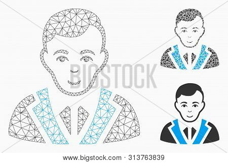 Mesh Noble Gentleman Model With Triangle Mosaic Icon. Wire Frame Polygonal Mesh Of Noble Gentleman.