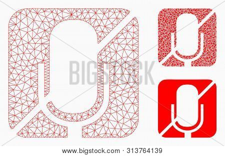 Mesh Mute Model With Triangle Mosaic Icon. Wire Carcass Triangular Mesh Of Mute. Vector Collage Of T