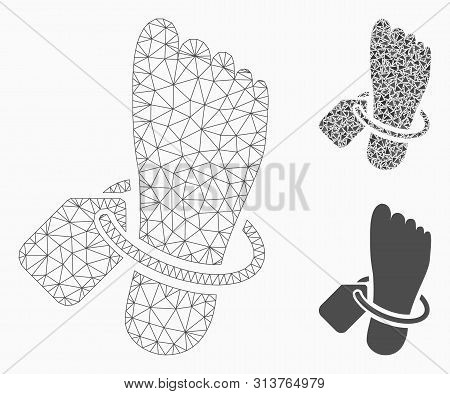 Mesh Morgue Tagged Foot Model With Triangle Mosaic Icon. Wire Carcass Polygonal Mesh Of Morgue Tagge