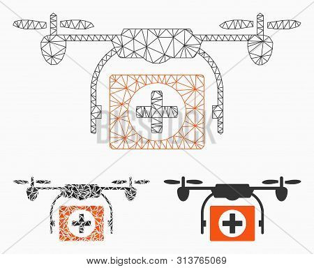 Mesh Medical Drone Model With Triangle Mosaic Icon. Wire Frame Polygonal Network Of Medical Drone. V