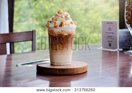 Cold Coffee -iced Caramel Macchiato Layered Espresso Drink, Vanilla Syrup, Cold Creamy Milk Espresso