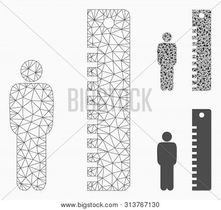 Mesh Man Height Model With Triangle Mosaic Icon. Wire Frame Triangular Mesh Of Man Height. Vector Mo