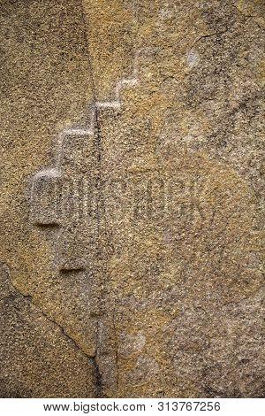 Inka Cross Of Chakana At Colossal Sanctuary Of Ollantaytambo In Peru
