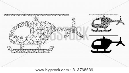 Mesh Helicopter Model With Triangle Mosaic Icon. Wire Frame Polygonal Mesh Of Helicopter. Vector Mos