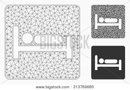 Mesh Motel Bed Model With Triangle Mosaic Icon. Wire Frame Polygonal Mesh Of Motel Bed. Vector Mosai