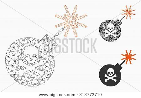 Mesh Mortal Bomb Model With Triangle Mosaic Icon. Wire Carcass Polygonal Mesh Of Mortal Bomb. Vector