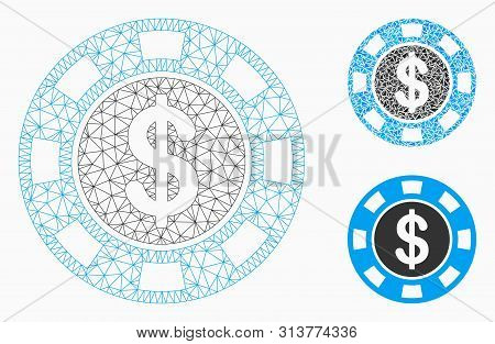 Mesh Money Token Model With Triangle Mosaic Icon. Wire Carcass Triangular Mesh Of Money Token. Vecto