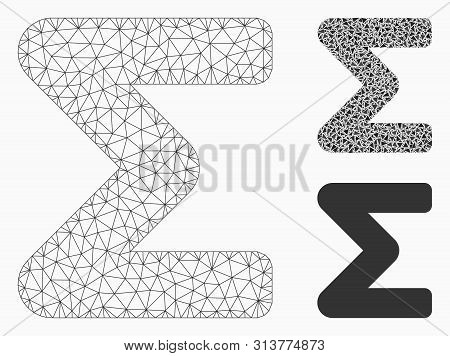 Mesh Sum Model With Triangle Mosaic Icon. Wire Frame Polygonal Mesh Of Sum. Vector Mosaic Of Triangl
