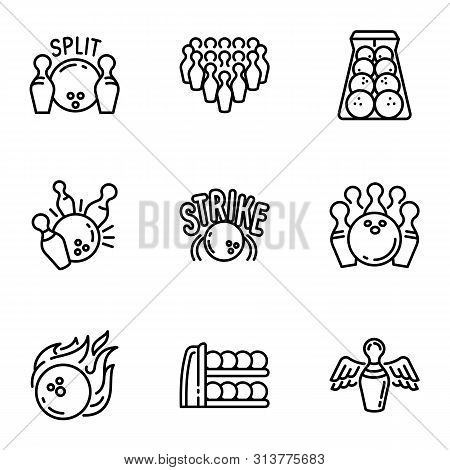 Bowling Game Icon Set. Outline Set Of 9 Bowling Game Vector Icons For Web Design Isolated On White B