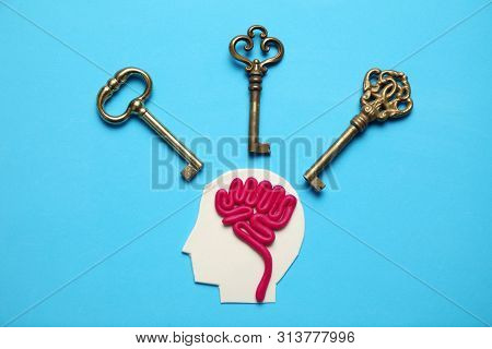 Figure Of Man And Three Keys. Business Problems And Solution.