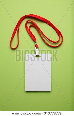 Card Lanyard Mockup, Badge Id Tag On Green Background. Staff Identification.
