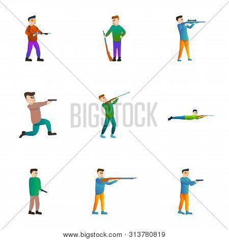 Gun Shooter Icon Set. Cartoon Set Of 9 Gun Shooter Vector Icons For Web Design Isolated On White Bac