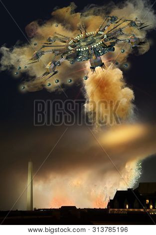 3d Illustration Of An Alien Spaceships And Drones Over Washington Dc Firing Its Primary Cloud-weapon