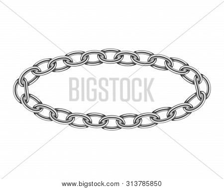 Realistic Metal Circle Frame Chain Texture. Silver Color Round Chains Link Isolated On White Backgro