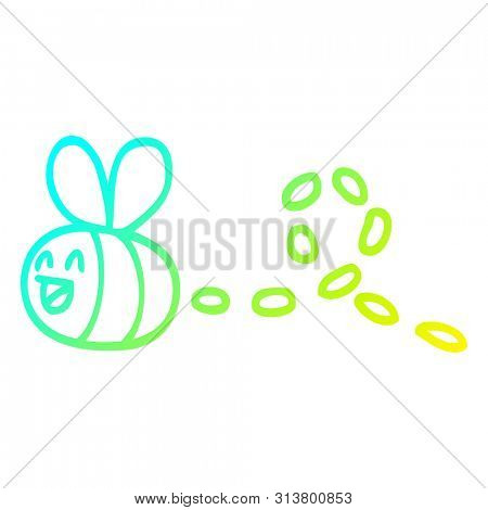 cold gradient line drawing of a cartoon buzzing bee
