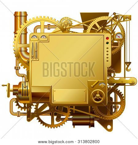Gold complex fantastic machine with gears, levers, pipes on yellow background. Steampunk style template, frame, poster and techno background