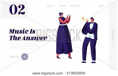 Symphony Orchestra Musicians Playing Classical Music Website Landing Page, Performing On Stage With