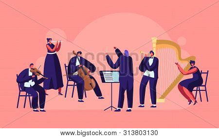 Symphony Orchestra Playing Classical Music Concert, Conductor And Musicians With Instruments Perform