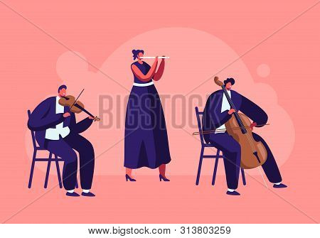 Musicians With Instruments Perform On Stage With Violin And Flute, Symphony Orchestra Classical Musi