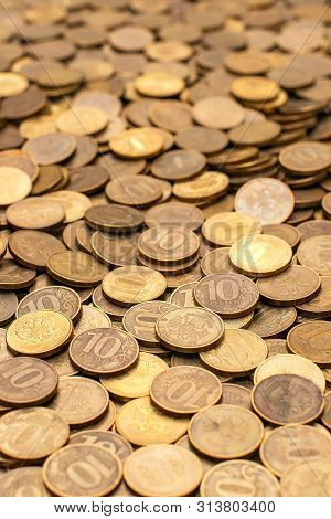 Copper Coin, Pile Of Golden Silver Coin, Quarters, Nickels, Dimes, Pennies, Russian Ruble Piece For
