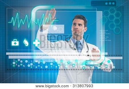 Doctor touching virtual screen with medical data