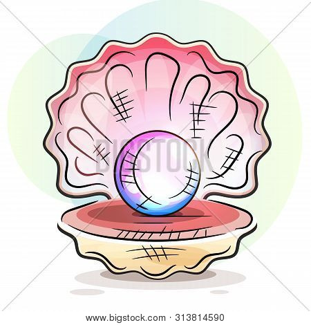 Beautiful Natural Open Pearl Shell Close Up Realistic Single Valuable Object Image Vector
