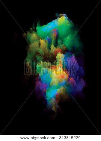 poster of Vibrant Bit. Rainbow Island series. Design made of vibrant patch of hues and gradients to serve as background for projects on art, creativity and design